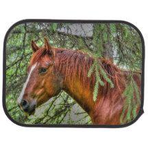 Red Dun Horse Mare & Trees Equine Photo 2 Car Mat