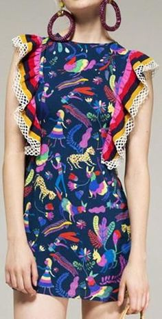 Ruffled Print Mini Dress, Multi Colored