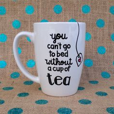 One Direction Coffee Mug - You Can't Go To Bed Without A Cup Of Tea - Handpainted Coffee Mug