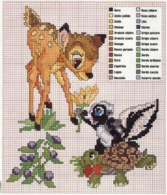Bambi and Flower cross stitch pattern Disney Cross Stitch Patterns, Cross Stitch For Kids, Cross Stitch Baby, Cross Stitch Animals, Cross Stitch Charts, Cross Stitch Designs, Cross Stitching, Cross Stitch Embroidery, Embroidery Patterns