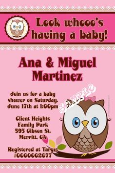 Owl baby shower invitations.  Design online, download and print immediately!