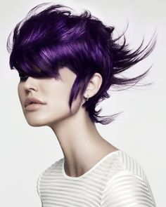 Hair Color Pink, Fall Hair Colors, Purple Hair, Winter Hairstyles, Up Hairstyles, Haircuts, Curly Hair Cuts, Curly Hair Styles, Black And Grey Hair