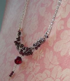 Red garnet wire crocheted drop necklace Wire by LifeStoneJewelry, $32.00