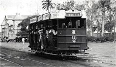 Tram to Cantt Station, Karachi (circa 1950) | A tram owned by Mohamedali Tramways Company, or MTC, on its way to Karachi's Cantt station in this photograph taken in the 1950s. Opened in April 1885 and operated by the East India Tramway Company.