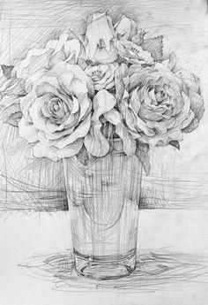 장미: 스케치 단계별 과정 – ArtPark\'s: 박지만화실 Flower Sketch Pencil, Pencil Drawings Of Flowers, Flower Sketches, Pencil Art Drawings, Realistic Drawings, Art Drawings Sketches, Cool Drawings, Drawing Faces, Botanical Drawings
