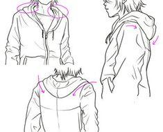 パーカーがちょっと硬そうなフードつきジャケットという感じがします。  もっとやわらかい曲線で、...