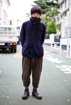 Hashimoto, Tokyo | Scarf: Polka Dot Scarf  Jacket: Blue/Purple COMME DES GARCONS Jacket  Pants: Brown COMME DES GARCONS Pants  Shoes: Black Shoes
