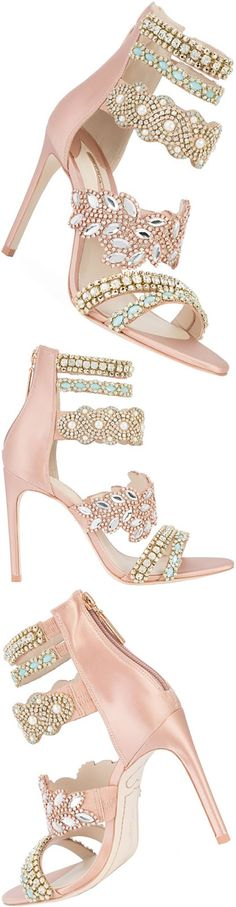 Sophia Webster antique rose pink silk beaded strap sandal featuring an open toe, a strappy design, beaded embroidery, a branded insole, a back zip fastening & a mid high stiletto heel.
