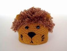 Crochet Lion Baby Hat | Gold Lion Crochet Hat Novelty Kids Baby School Mascot Fluffy Brown ...