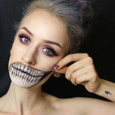 maquillage halloween discret bouche femme visage: