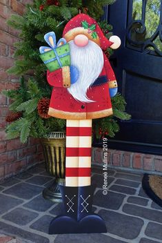 Plum Purdy (Scroll to the bottom to see all related items for this pattern) A fun and whimsical Santa Gnome porch greeter design to greet your guests or decorate your home for the the Christmas season. Christmas Yard Art, Christmas Wood Crafts, Nutcracker Christmas, Christmas Gnome, Christmas Projects, Christmas Wreaths, Christmas Ornaments, Christmas Gingerbread, Christmas Colors