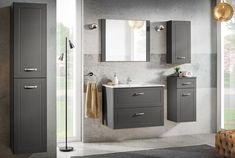 Set Mobilier pentru baie, 6 piese, Sophia Cement XL #homedecor #interiordesign #inspiration #furniture #bathroom Furniture, Double Vanity, Bathroom Furniture, Vanity, Bathroom Vanity, Bathroom, Flooring, Dream Bathroom