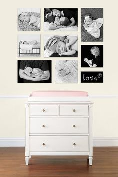 wall display of canvas or mounted prints baby nursery