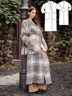 Perfect for those looking to sew their first coat or to try a new style. The maxi coat with the shawl collar, overcut shoulders and oversized pockets completely avoids lining – though it is absolutely cosy and warm thanks to the brushed wool fabric. #burdastyle #sewing #pattern