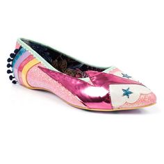 Embrace your inner Ziggy and flash forward in these out of this world glitter flats. Featuring a rainbow with pom pom trim, lightning bolt and star detailing.