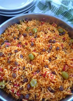 Rice with Pigeon Peas { Arroz Con Gandules } is one of my favorite Puerto Rican recipes usually served on Holidays and special occasions, made with long grain rice, Spanish tomato sauce, sofrito, p… Olive Recipes, Pea Recipes, Mexican Food Recipes, Cooking Recipes, Ethnic Recipes, Cooking Ideas, Yummy Recipes, Mexican Dishes, Meatless Recipes