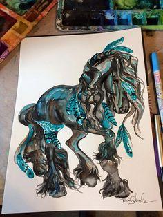 Friesian horse black turquoise feather war by RustyHaloStudio