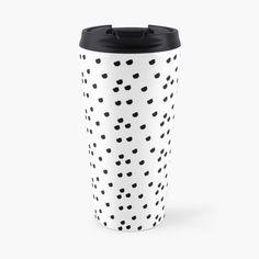 """""""Jennifer Abstract Black & Lilac Polka Dot"""" Travel Mug by camilaheart Laptop Skin, Travel Mug, Lilac, Polka Dots, Iphone Cases, Presents, Mugs, Abstract, Tableware"""