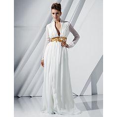TS+Couture+Formal+Evening+Military+Ball+Dress+-+Elegant+Celebrity+Style+Sheath+/+Column+V-neck+Sweep+/+Brush+Train+Chiffon+withAppliques+–+DKK+kr.+6.119