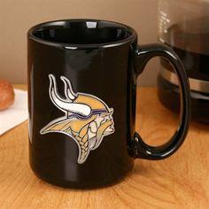Minnesota Vikings Pewter Logo Black Ceramic 15 oz. Coffee Mug