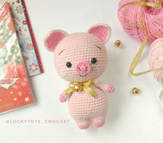 Mesmerizing Crochet an Amigurumi Rabbit Ideas. Lovely Crochet an Amigurumi Rabbit Ideas. Crochet Pig, Cute Crochet, Crochet For Kids, Crochet Dolls, Crochet Patterns Amigurumi, Knitting Patterns Free, Free Pattern, Pattern Ideas, Amigurumi Doll Pattern