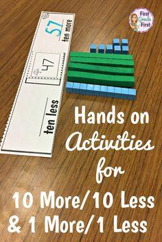 Engaging activities to teach finding 10 more/10 less and 1 more/1 less. Teaching First Grade, Teaching Math, Guided Maths, Kindergarten Math, Fun Math, Math Activities, 1 More 1 Less Activities, Place Value Activities, Math 2