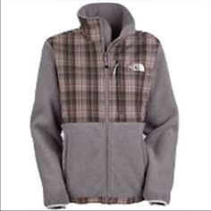 North Face Plaid Denali Jacket Worn once or twice North Face Plaid Denali Jacket. Full Zip! Numerous pockets, grey with red,grey,black plaid. Excellent Condition North Face Jackets & Coats