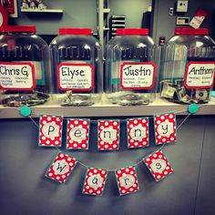 Throwing a Penny Wars at work! Made the garland and the jars!