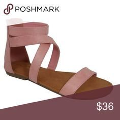 "❗️CLEARANCE ❗️Blush Strappy Sandals The new ""it"" color of the season. Blush Strappy Sandals featuring a back zipper. Pair them with your favorite outfit or even swimsuit. Grab a comfy pair before they sell out! If you have narrow or normal width feet size down half a size is recommended. Due to the nature of the delicate Suede like material some minor glue stains may be on some pairs. Please carefully review each photo before purchase as they are the best descriptors of the item. Sold as is…"