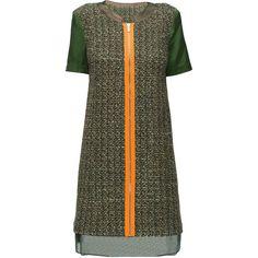 LATTORI Zip Front, Little Green Dress (€92) ❤ liked on Polyvore featuring dresses, lattori, vestido, платья, fancy dress, fancy cocktail dresses, zipper dress, textured dress and green color dress