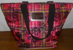 Betseyville Pink Nylon Tartan Plaid Tote Shopper . Starting at $5 on Tophatter.com!