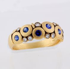 "ALEX SEPKUS Ring, 18k Yellow Gold ""Candy"" Dome, 9 White Diamonds F/G; VVS (.10ct), 6 Sapphires Vivid Blue Sapphires Mix Approx. 0.50ct tw."