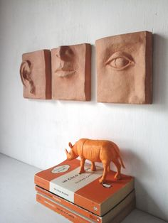 Classic terracotta triptych - louise fulton studio on etsy