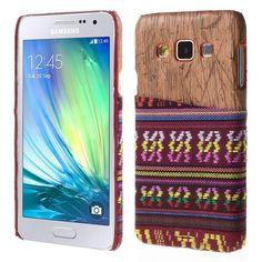 Javu - Samsung Galaxy A3 Hoesje - Back Case Hard Tribal Canvas en Houtprint Rood   Shop4Hoesjes