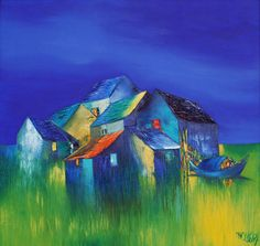 (Vietnam) Under the Moonlight, 2014 by Dao Hai Phong (1965- ). Oil on canvas.
