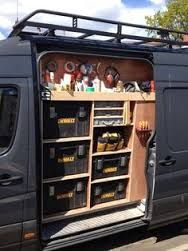 Van racking, tool storage, work in progress. May be for tools, but shows thought that would work for off road trailer or rear deck storage of Van Organisation, Trailer Organization, Trailer Storage, Truck Storage, Organization Ideas, Storage Ideas, Trailer Shelving, Van Storage, Tool Storage