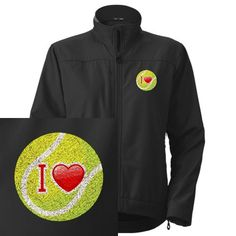 Artsmith, Inc. Women's Embroidered Jacket I Love Tennis - Small Lightweight and warm; 100 polyester outer. Light fleece inner; 1 Zippered chest; Zippered cuffs. Dry clean only; InfiniStitch embroidery.  #Artsmith_Inc #Apparel