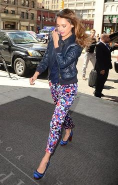 Jessica Alba: Jessica Alba wore a floral pant and leather jacket ensemble while out in New York.