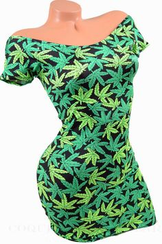 Marijuana Pot Leaf Print Lycra Spandex Off Shoulder Style Mini Dress Weed NWT #CoquetryClubwear #StretchBodycon #Clubwear