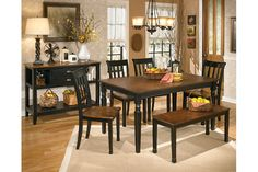 Owingsville two tone casual rectangular dining table set with bench and buffet server