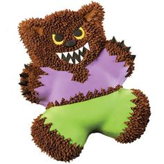 USE TEDDY BEAR PAN We're Wary of Werewolves! Cake - There must be a full moon out tonight! Cuddly Teddy Bear  cake has turned into a furry monster ready for some  Halloween trickery.