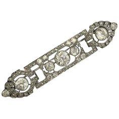 1920s Mauboussin Art Deco diamond platinum brooch