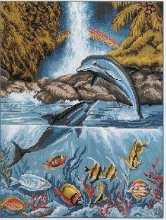Dolphin Waterfall Cross Stitch Sampler Patterns, Cross Stitch Samplers, Cross Stitch Designs, Cross Stitching, Cross Stitch Embroidery, Cross Stitch Animals, Cross Stitch Flowers, Cross Stitch Pictures, Plastic Canvas Patterns