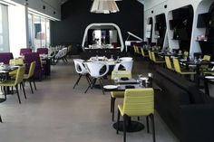 Up and Pit chairs at Oliveto Restaurant, Adilya, Bahrain. Hospitality,Interior, Design, Architecture, Seating, Furniture, Night, Travel, Inspiration, Lifestyle,