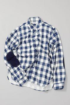 new blue ging because of ripped elbow on tiny one Work Shirts, Tee Shirts, Shirt Men, Tartan Shirt, Denim Top, Cool Suits, Fashion Prints, Fashion Addict, Menswear