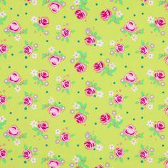 Cotton Little Flowers 3 - Cotton - apple green