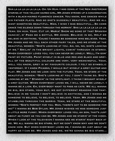 Customer Order : Personalised Counting Crows Mr Jones song lyrics canvas print