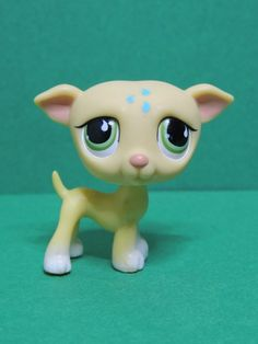 #875 Chien Lévrier Dog beige Greyhound green eyes LPS Littlest Pet Shop Figurine