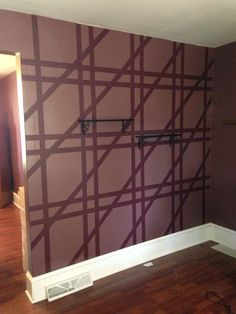 paint the whole wall with the darker colour and let dry arrange the painters tape with the design and then paint over the whole wall again with the lighter - Paint Tape Design Ideas