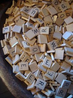 Pick up incomplete games at yard sales - place tiles in a jar; dump them out on little table & tell kids to spell out a word or sentence. They love it.... Adults love it too. Pull some out on the counter at your next party or get together & see what happens!
